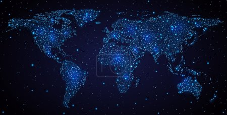 Abstract world map on night sky. EPS 10, contains ...