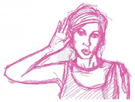 Sketch woman overhearing something