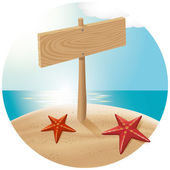 Vector travel concept Guidepost at the beach with the sea stars