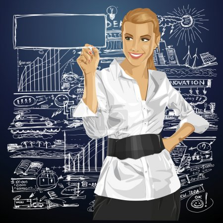 Illustration for Idea concept. Vector Business woman writing something. All layers well organized and easy to edit - Royalty Free Image