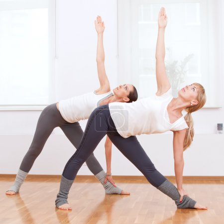 Photo for Group of sport women in the gym centre doing stretching fitness exercise. Yoga - Royalty Free Image