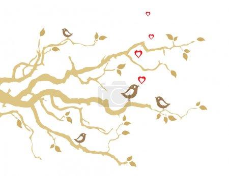 Illustration pour Deux oiseaux d'amour sur des branches d'arbre doré carte de vœux. Cette image est une illustration vectorielle - image libre de droit