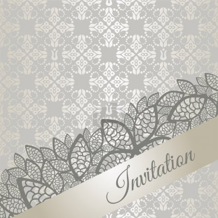 Photo pour Carte d'invitation argent occasion spéciale (fiançailles, mariage, fête d'anniversaire). Cette image est une illustration vectorielle - image libre de droit