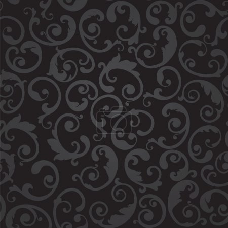 Seamless black and grey swirls floral wallpaper
