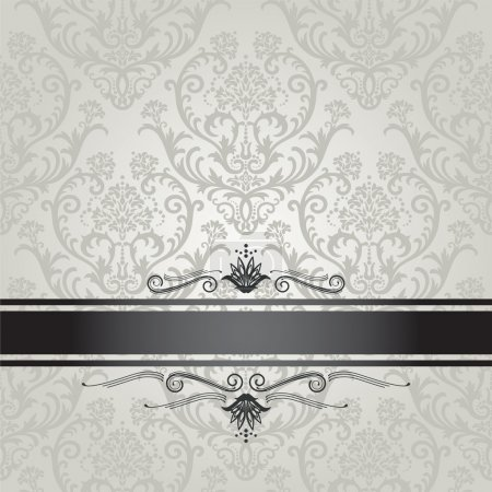 Illustration for Luxury silver seamless floral wallpaper pattern book cover with black border. This image is a vector illustration. - Royalty Free Image