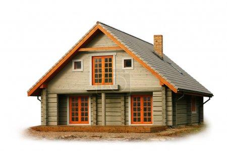 maison en bois isolée sur blanc