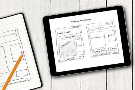 Photo for Website wireframe sketch on digital tablet screen - Royalty Free Image