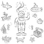 Sketch set of funny cartoon izolated objects on underwater diving theme