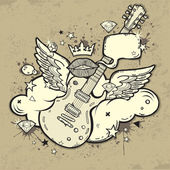 Grunge Rock'n'Roll Guitar with wings on the cloud