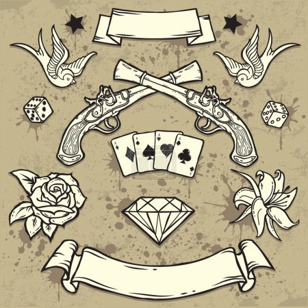 Illustration for Set of Old School Tattoo Elements on Grunge Texture background - Royalty Free Image