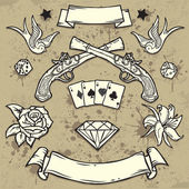 Set of Old School Tattoo Elements on Grunge Texture background