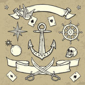 Set of Old School Tattoo Elements