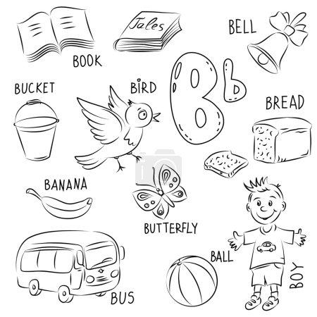Set of pictures on Alphabet theme