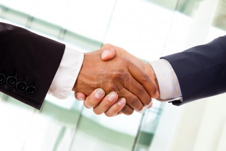 Multiracial handshake from an african and a caucasian businessma