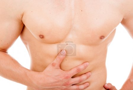 Man holding is stomach in pain, isolated on white background
