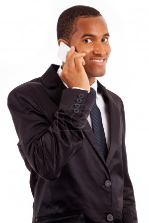 African American young business man on the phone, isolated on white