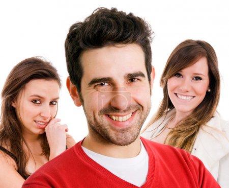 Photo pour Closeup portrait de jeunes hommes et femmes ensemble isolées sur fond blanc - image libre de droit