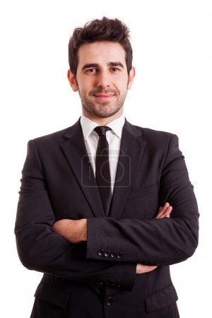 Portrait of a smiling young business man, isolated on white back