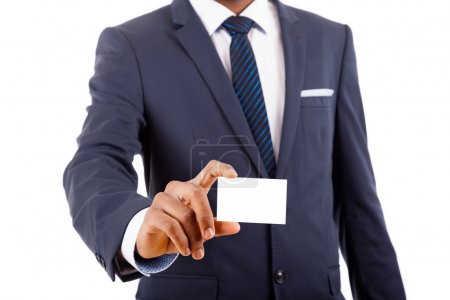African American business man showing his business card, isolate