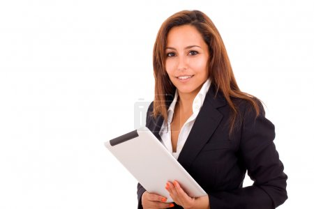 Smiling business woman with tablet computer on white background
