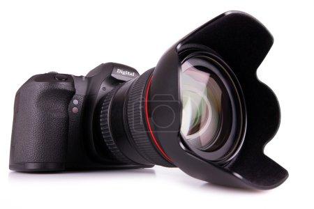 Digital SLR camera on white background