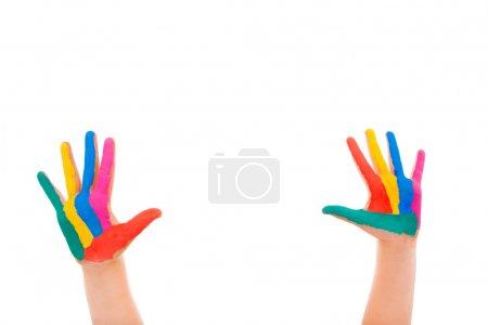 Foto de Manos pintadas sobre fondo blanco - Imagen libre de derechos