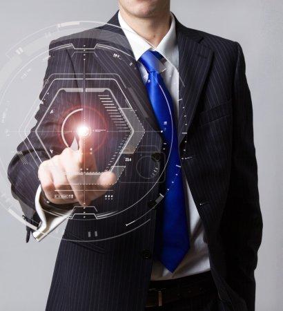 Foto de Businessman touch pantalla virtual digital - Imagen libre de derechos