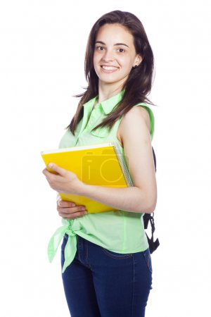 Feliz estudiante sonriente llevando cuadernos