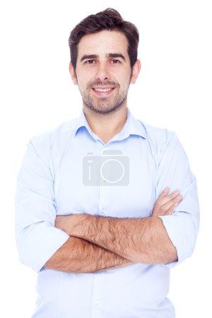 Photo pour Portrait d'un bel homme, isolé sur fond blanc - image libre de droit