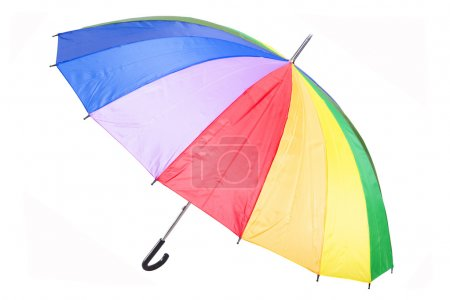 Colorful rainbow umbrella, isolated on white