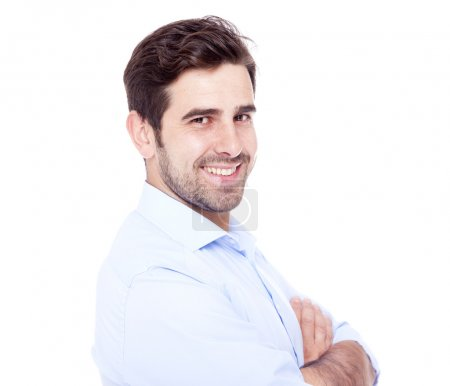 Photo for Portrait of a handsome man smiling, isolated on white - Royalty Free Image