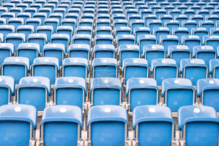 Blue chairs in the stadium