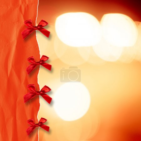 Blurred background with red ribbon