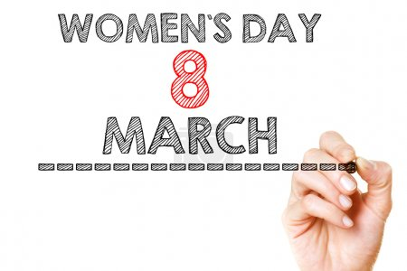 Photo for International womans day handwritten on white board - Royalty Free Image