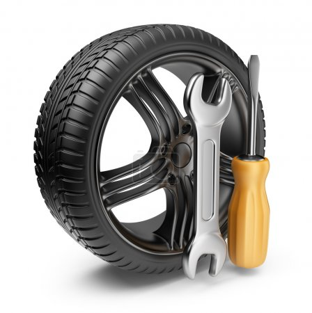 Wheel and tools. Car service. 3D Icon isolated