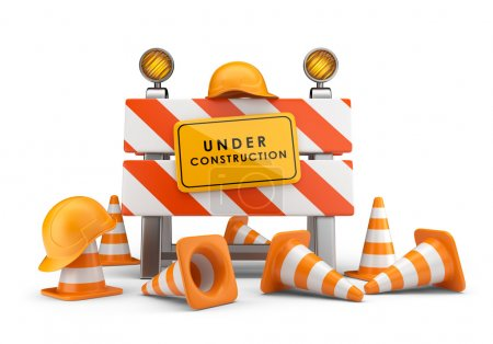 Photo for Under construction concept. 3D barrier isolated on white - Royalty Free Image