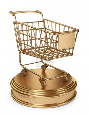 Golden Market cart. Best Sellers concept. 3D Isolated on white b