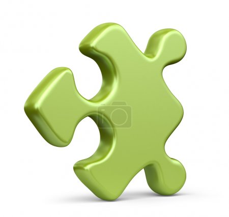 Single jigsaw puzzle piece. 3D Icon isolated on white background