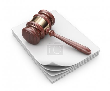 LAW hammer on documents. Legal concept.  3D Icon isolated
