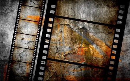 Photo pour Fond grunge rétro avec bandes de film - image libre de droit