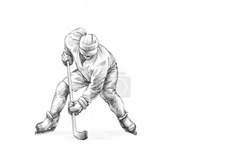 handgezeichnete Skizze eines Eishockeyspielers