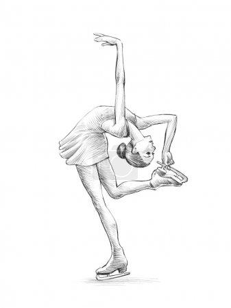 handgezeichnete Skizze mit Bleistift Illustration einer Eiskunstläuferin