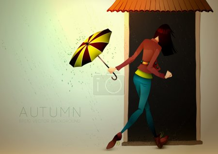 Autumn Background   Young Woman hiding from Rain with Umbrella