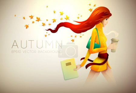 Autumn Background   Young Woman With Her Coffee To Go