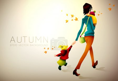 Autumn Background | Woman Waking Hurried With Her Children