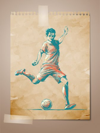 Football, Soccer Player Sketch on Aged Note Pape