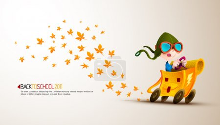 Illustration for Cute Boy Racing his School Backpack Emitting Autumn Leafs| Back to School Series | Detailed vector illustration with space for text | All layers named accordingly - Royalty Free Image