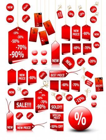 Illustration pour Grand ensemble d'étiquettes de vecteur de prix - vous pouvez l'utiliser pour n'importe quel moment de la vente ou de saisons - image libre de droit
