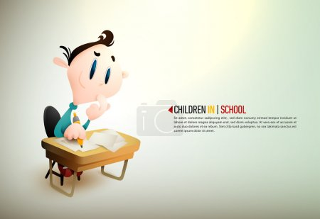Illustration for Happy Children. Detailed vector illustration with space for text. All layers named accordingly - Royalty Free Image