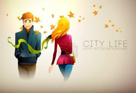 Illustration pour Un jeune homme et une jeune femme marchent côte à côte. Illustration vectorielle EPS10 en couches - image libre de droit
